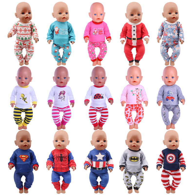 Doll Pajamas Animal,Superman,Christmas Clothes For 18 Inch American&43Cm Born Baby Generation Christmas Birthday Girl's Gifts