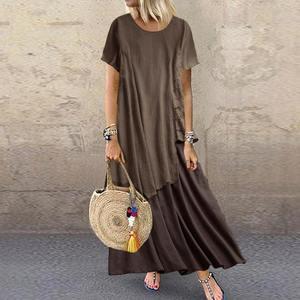 ZANZEA Women Summer Short Sleeve Maxi Long Dress Casual Patchwork Cotton Linen Sundress Plus Size Kaftan Vestido Loose Dresses