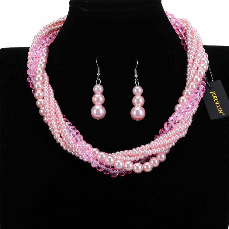 16 Colors New Multi Strand Resin Pearl Beads Choker Necklace Earrings Set Jewelry Twisted Women Necklaces Fashion Jewelry Set
