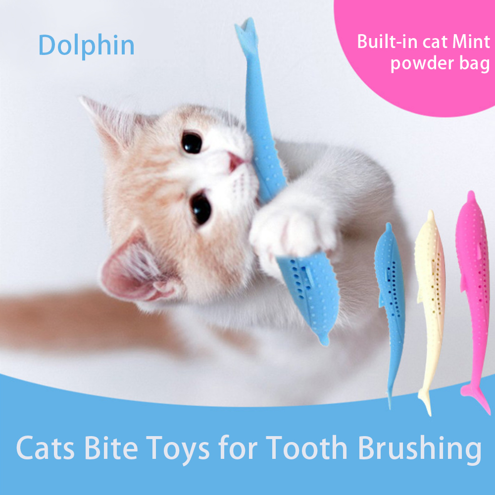 2Pcs Pet Cat Toothbrush Toys Fish Shaped Silicone Mint Toothbrush Molar Stick Teeth Cleaning Chew Toy Pet Supplies With 4 Catnip in Cat Toys from Home Garden