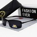 Солнцезащитные очки Мужские поляризационные, модные небольшие спортивные, обесцвечивающиеся, UV400, для вождения, черные