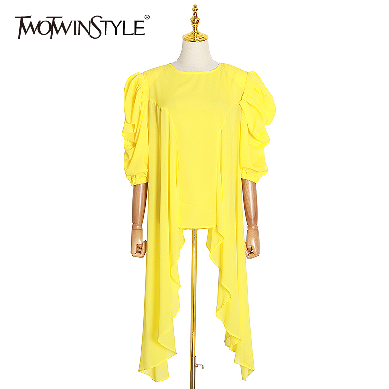 TWOTWINSTYLE Casual Irregular Perspective Woman Shirt O Neck Puff Sleeve Asymmetrical Hem Blouse Female Fashion Clothing Fashion