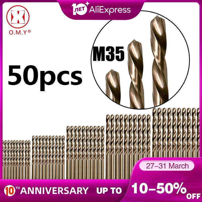 50PCS Drillforce Tools M35 Cobalt Drill Bit Set, 1/1.5/2/2.5/3mm For Drilling On Hardened Steel, Cast Iron&Stainless Steel