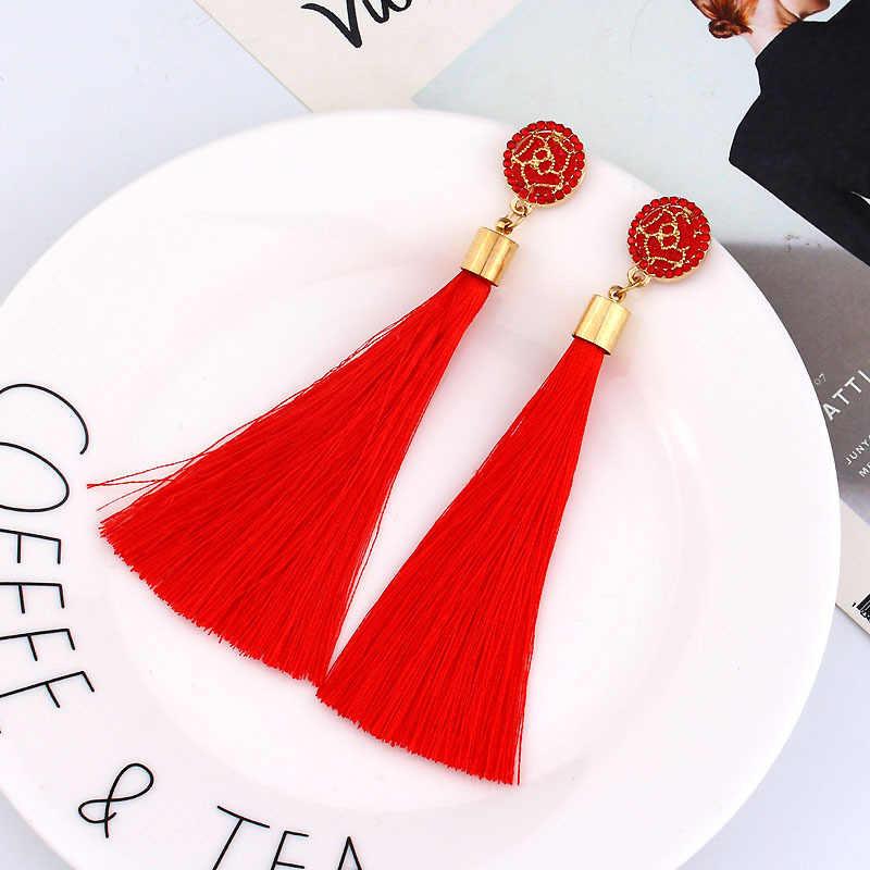 Frauen Böhmischen Kristall Lange Quaste Baumeln Ohrringe Für Mädchen Rot Weiß Silk Stoff Drop Rose blume lotus Ohrring Modeschmuck