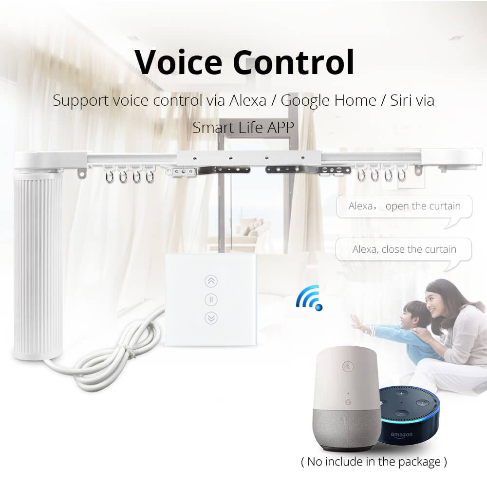 Image 2 - Intelligent House Motorized Smart Curtains With Curtain Track Rod Wall Switch Alexa Google Home tuya App Control-in Smart Remote Control from Consumer Electronics