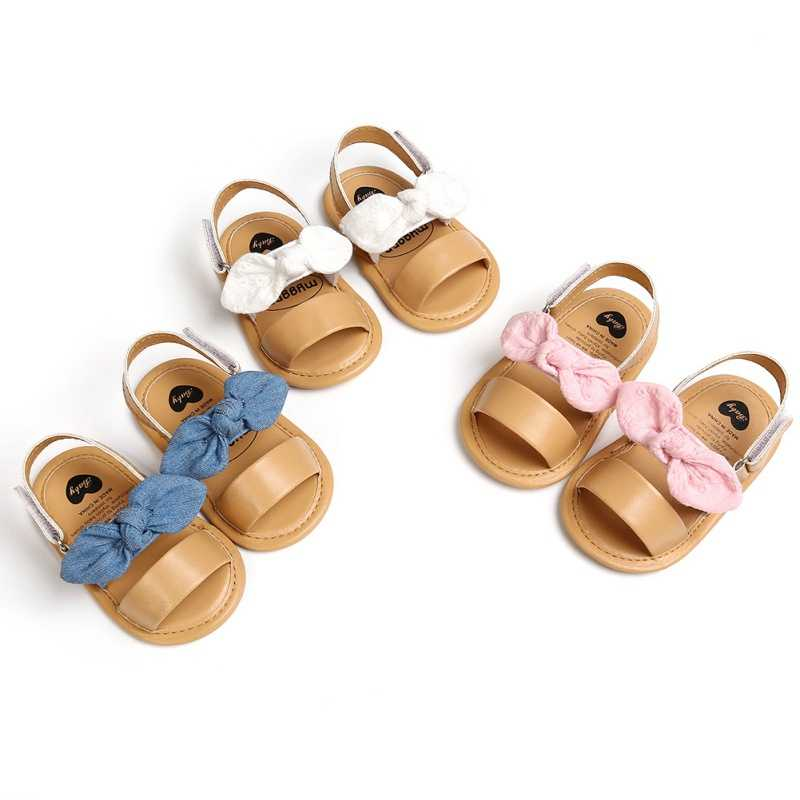 BEBARFER Infant Baby Girls Summer Sandals PU Leather Soft Anti-Slip Sole Cute Flower Toddler Crib First Walker Shoes
