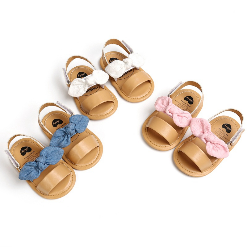2020 Summer Baby Girls Cute Sandals Bow PU Leather First Walkers Soft Bottom Anti-Slip Shoes Girl Toddler Princess Shoe 0-18M
