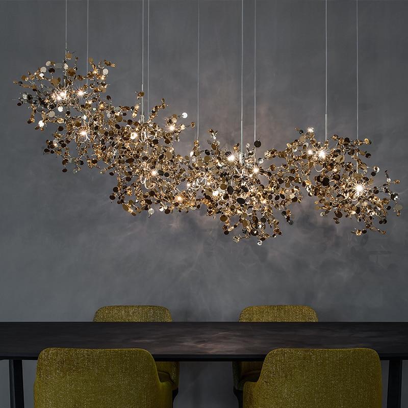 Terzani  Argent Chandelier Lighting Hand-Made Stainless Steel Leaf Chandelier Lamp  Villa Suspenion Lighting / Hanging Lights