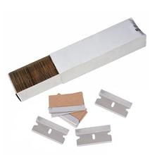 """FOSHIO 100 adet 1.5 """"yedek karbon çelik tıraş bıçağı kazıyıcı vinil Film sarma aracı araba pencere tonu temizleme etiketi sökücü"""