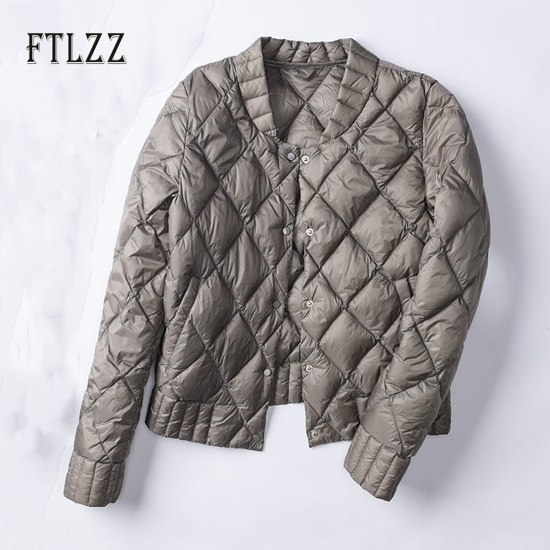 New 2019 Autumn Winter White   Down   Jacket Mujer Women Short Parkas Fashion Diamond Ultra Light   Coat   Female Plus Size Underwear Outerwear