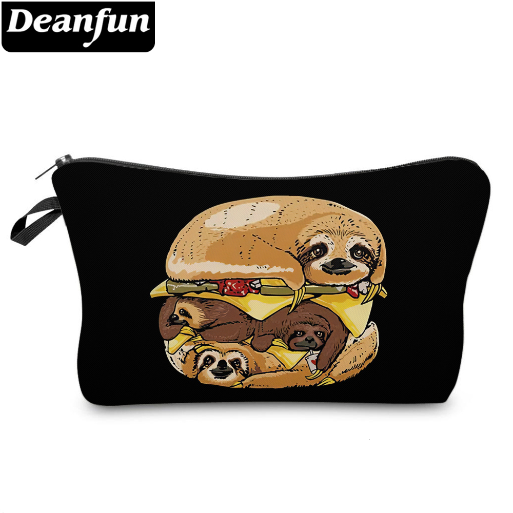 Deanfun 3D Printing Small Makeup Bag Blue Storage Travel Bags Waterproof Funny Kids Cosmetic Bag Sloths Gifts For Girls 51816