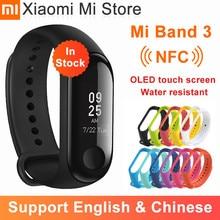 Em estoque xiaomi mi banda 3 nfc pulseira inteligente grande tela de toque oled mensagem fitness coração resistente à água cn versão smartband