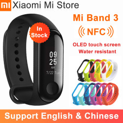 In Stock Xiaomi Mi Band 3 NFC Smart Bracelet Big Touch OLED Screen Fitness Message Heart Water resistant CN Version Smartband