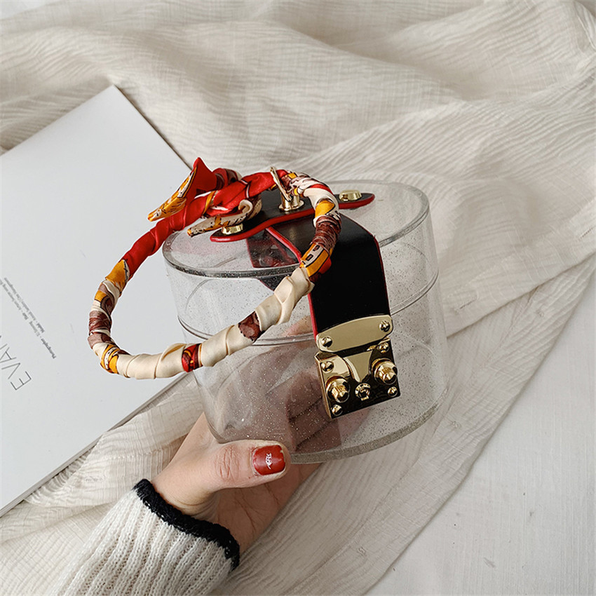TOYOOSKY, прозрачный акриловый клатч, кошелек, женская прозрачная сумочка, пластиковая сумка в форме бочонка, летняя вечерняя сумка для девочек ...