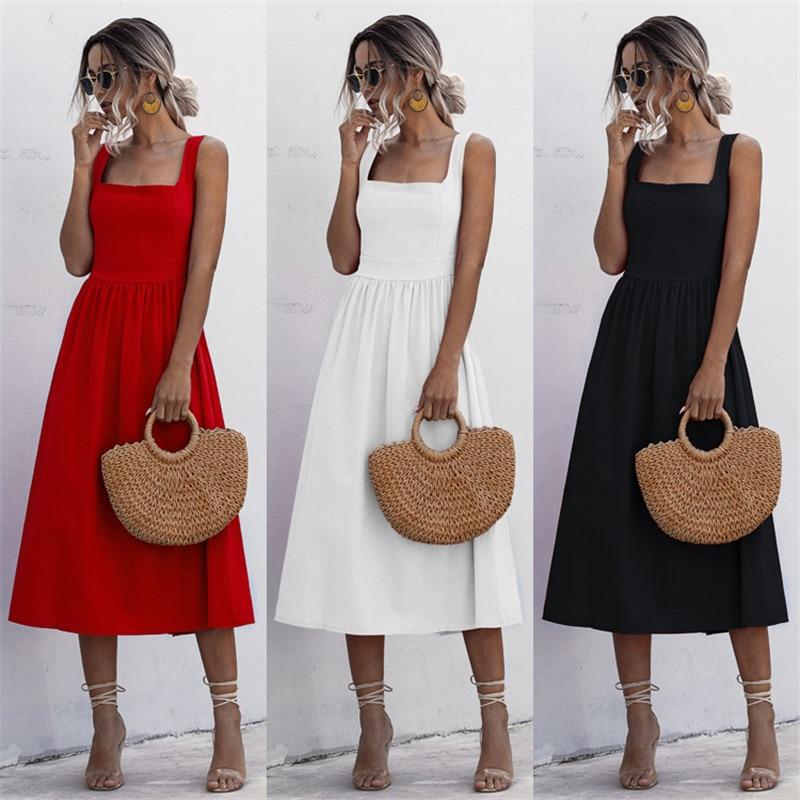 Hot sale Fashion Summer Spaghetti Strap a Line Party Dress Solid Color Elegant Summer Dress 2020 Beach Midi Sundress Vestidos