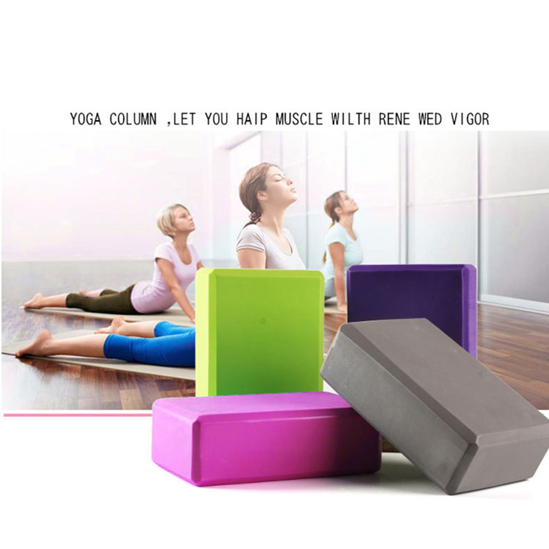 Yoga Block Blue Transer Exercise Fitness Yoga Blocks Foam Bolster Pillow Cushion EVA Gym Training 23 x 15 x 8 cm