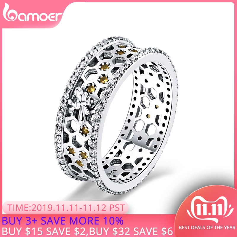 BAMOER Hot Sale 925 Sterling Silver  Queen Bee Hexagon Clear CZ Big Ring For Women Bee Fashion Jewelry S925 SCR391