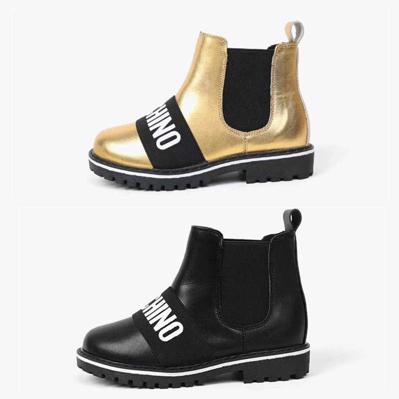 2019 NEW Golden&Black Boots For Children Kids Hight Qualiy Winter Plush Shoes Thermal Boots For Princess Girl Kids