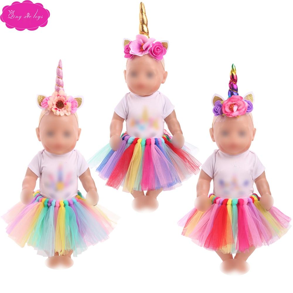 Одежда для кукол 43 см, костюм для новорожденных с единорогом, кружевная юбка с обувью, детские игрушки, платье, американская кукла для девочек 18 дюймов f746