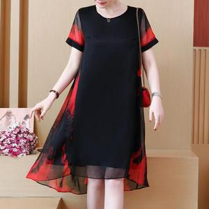 Image 2 - L 5XL Office Lady Party Loose o neck short Sleeve Plus Size Summer Yellow Red Black Elegant Woman Cocktail Dresses