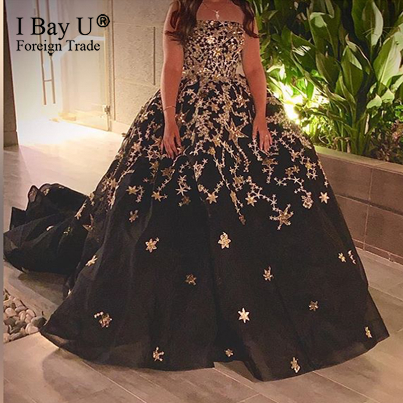 Real Customer Show Sparkle Gold Star Dubai Black Strapless Sexy Wedding Dress 2020 Luxury Sequined Bridal Gowns