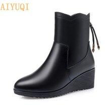AIYUQI/женские ботинки; ботильоны из натуральной кожи; зимняя обувь для мам; большие размеры 41, 42, 43; теплые шерстяные зимние ботинки на танкетке для женщин