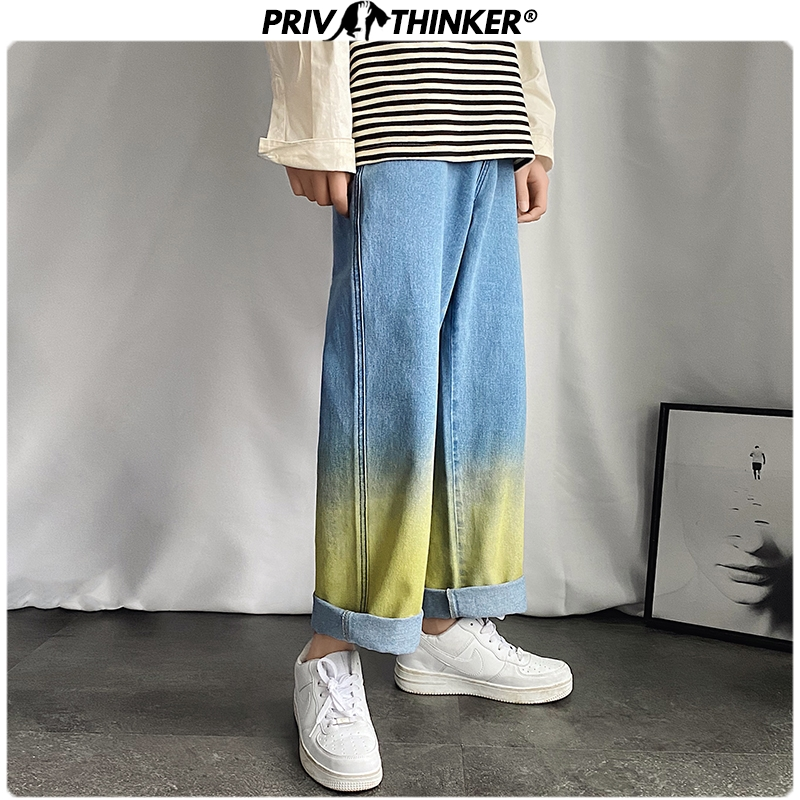Privathinker Korean Men's Gradient Straight Jeans 2020 Summer Women Wear Casual Denim Pants Man Loose Wide Leg Jeans Pants