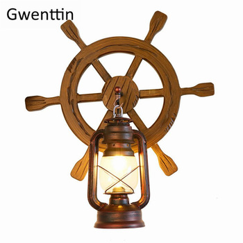 Vintage Iron Wood Wall Lamp Sconce Wall Light for Dinning Room Bedroom Indoor Home Loft Industrial Led Decor Fixtures Luminaire