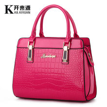 100% Genuine leather Women handbags 2019 new bright leather female bag stone high-grade shoulder bags of western style air bag(China)