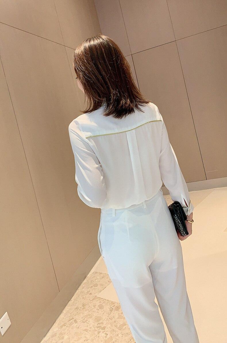 Chemise en soie femmes 2019 automne dames mode couleur unie col rabattu simple boutonnage poignet longueur manches chemise blanche S XXL - 3