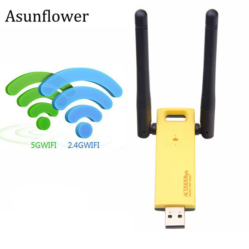 Asunflower Usb Dual Band Wifi Adapter 2.4G/5Ghz 802.11AC USB3.0 Network Card Dongle Com Antenas de Rede Sem Fio adaptador wi-fi