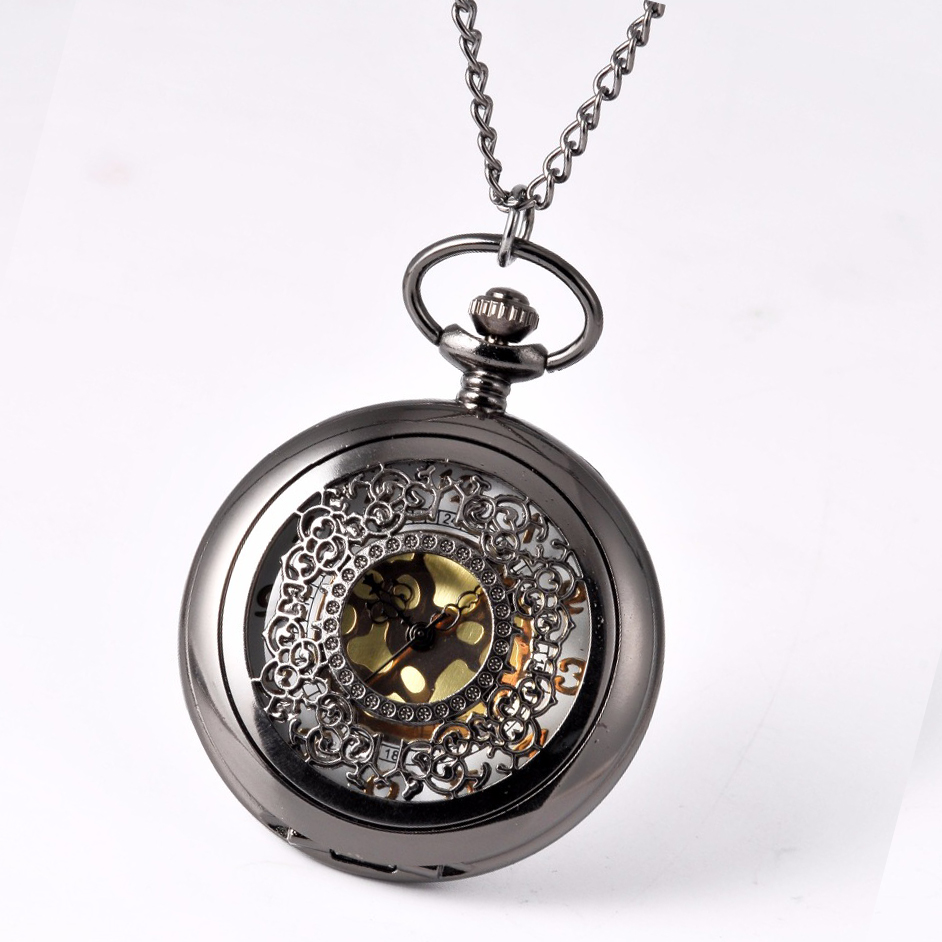 Pocket Watch Black Round Delicate Flower Pocket Watch Men Antique Luxury Brand Necklace Pocket & Fob Watches