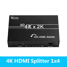 Wiistar HDMI Splitter 1x4 HDMI 1.4 Converter 4k 1080P 1 In 4Out Switcher Support 1.4V 3D for HDTV STB HDMI Splitter 4 Ports