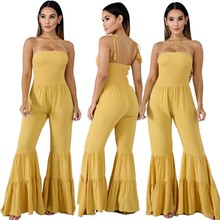 Sexy Rompers Met Bretels Elegante Celebrity Lage Boosm Lange Puff Mouwen Party Bodycon Big Bell Bottoms Jumpsuits Vrouwen(China)