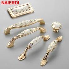 Naierdi Antieke Keramische Kabinet Handles Chinese Vintage Lade Knoppen Garderobe Deurgrepen Europese Meubels Handvat Hardware