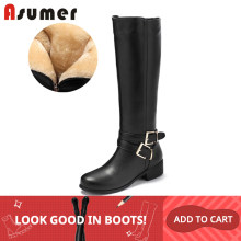 ASUMER Plus größe 34-46 frauen schnee stiefel schnalle mit zip Retro frauen kniehohe stiefel dickes fell warme winter stiefel drop schiff(China)
