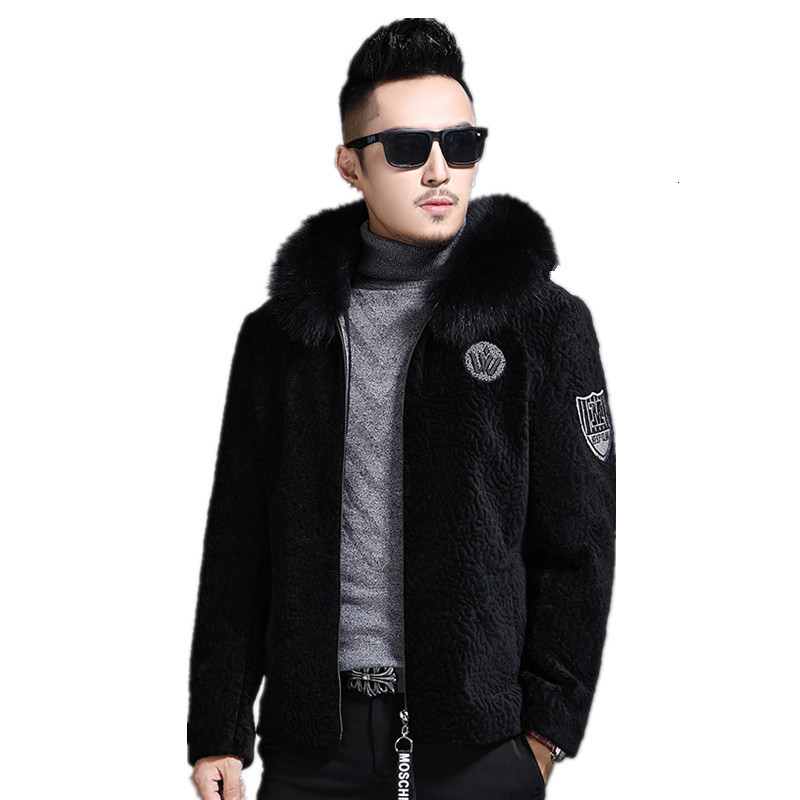 2020 Real Sheep Shearling Fur Coat Men's Winter Jacket Real Fox Fur Collar Wool Coats Streetwear Jackets Manteau L17-1550 MY1762