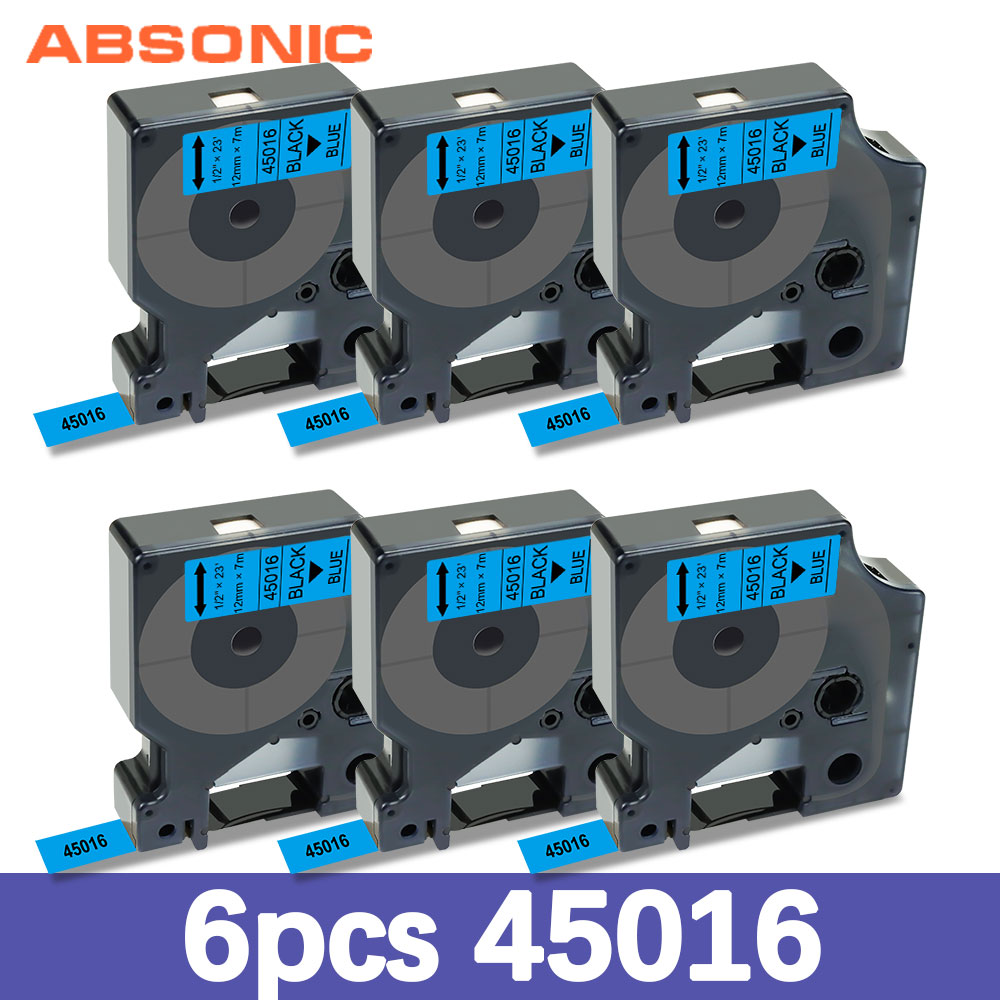 Absonic 6PK 45016 Compatible Dymo D1 Label Tape 12mm Black on Blue for Dymo LabelManager Label Maker 160 280 210 260P Printer