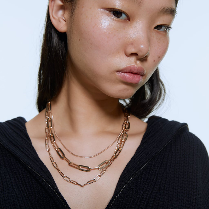 ZA Maxi Chunky Choker Necklaces For Women Gold Link Chain Multi Layer Necklace Hiphop Punk Jewelry Accessories Brincos N71551