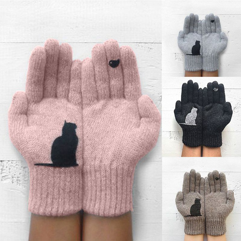 Cute Cartoon Cat Bird Printing Gloves Autumn Winter Warm Cashmere Thick New Gloves