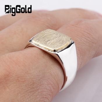 925 Sterling Silver Signet Men Ring Simple Elegant Gold Color Square Brushed Signet Ring for Men Women Engraved Jewelry Gift