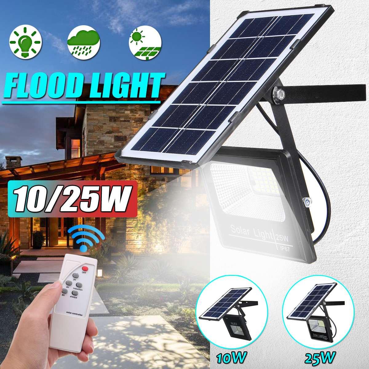 10/25W güneş ışıldak Led taşınabilir spot projektör açık cadde ve bahçe aydınlatma su geçirmez duvar lambası uzaktan kumanda ile