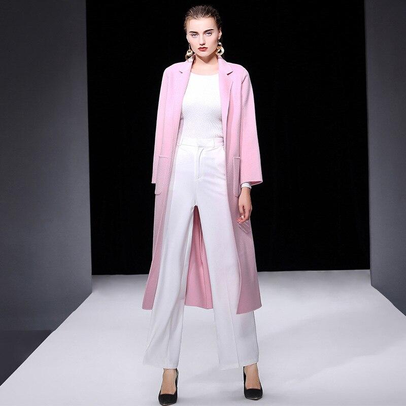 Vrouwen s winterjas roze dubbelzijdig wol kasjmier uitloper 2019 herfst plus size dames mode overjassen lange gratis schip