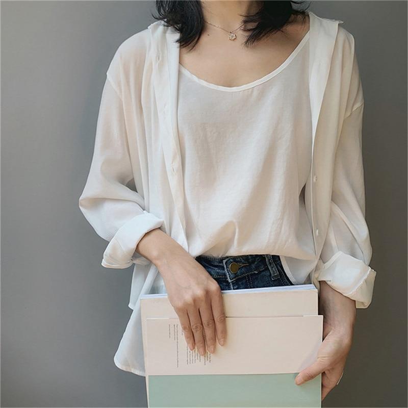 High quality 2pcs Women Blouse Shirt 2020 Summer Solid All match Satin Blouses Shirts Femal Blouse+halter tops Z1082 (25)