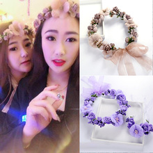 Artificial fake flower Simulation rattan braided wreath headwear korean wedding party supplies girls women's bridal headband цена и фото