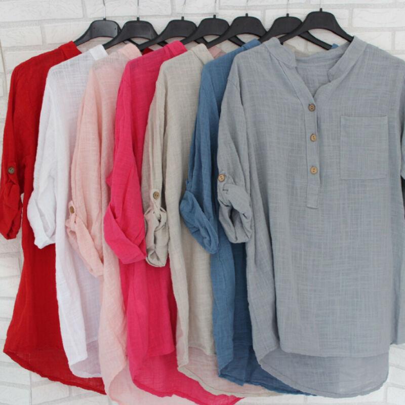 Womens Boho V-neck Long Sleeve Cotton Kaftan Ladies Baggy Blouse Tee Shirt Tops