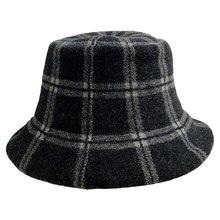 Wool Versatile Fashion Plaid Autumn and Winter Women's Fisherman's Cap Basin Cap