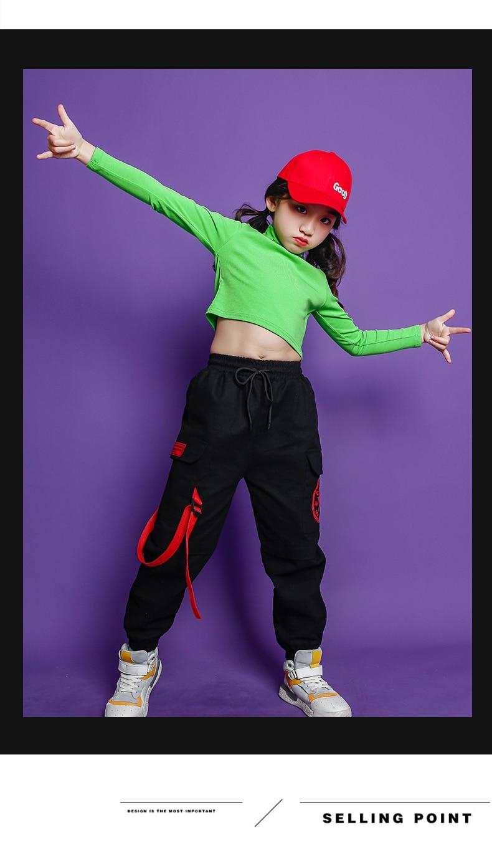 Fashion Children Jazz Dance Costume For Girls Hip Hop Street Dancing Costumes Crop Top Pants Kids Performance Dance Clothes (5)
