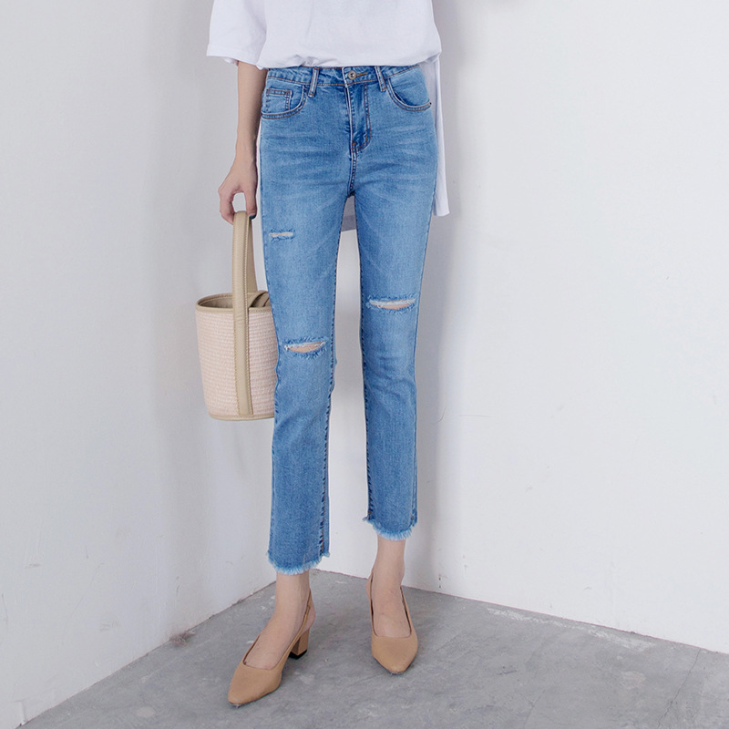 New Style WOMEN'S Dress High-waisted Elasticity Slim Fit With Holes Capri Straight-Cut Jeans Korean-style Flash Casual Jeans Wom