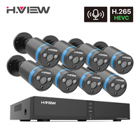 H.View H.265 8CH 4MP poe cctv Security Camera System Home Video Surveillance Outdoor Waterproof Audio Record ip camera NVR set